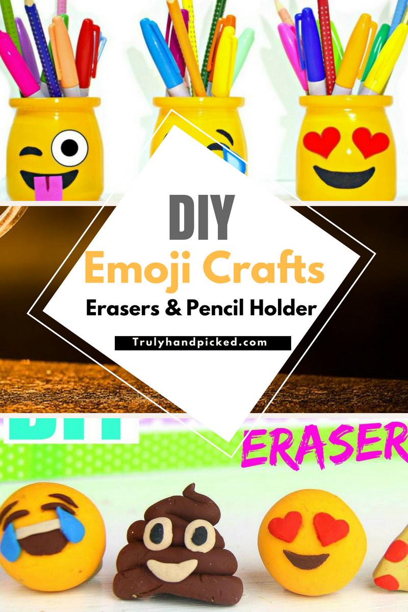 Diy Emoji School Supplies Diy Emoji Erasers And Pencil Holder