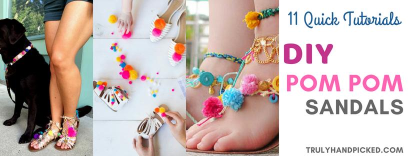 3ae901523 11 Dazzling DIY Pom Pom Sandals  Quick Glamorous   Awesome
