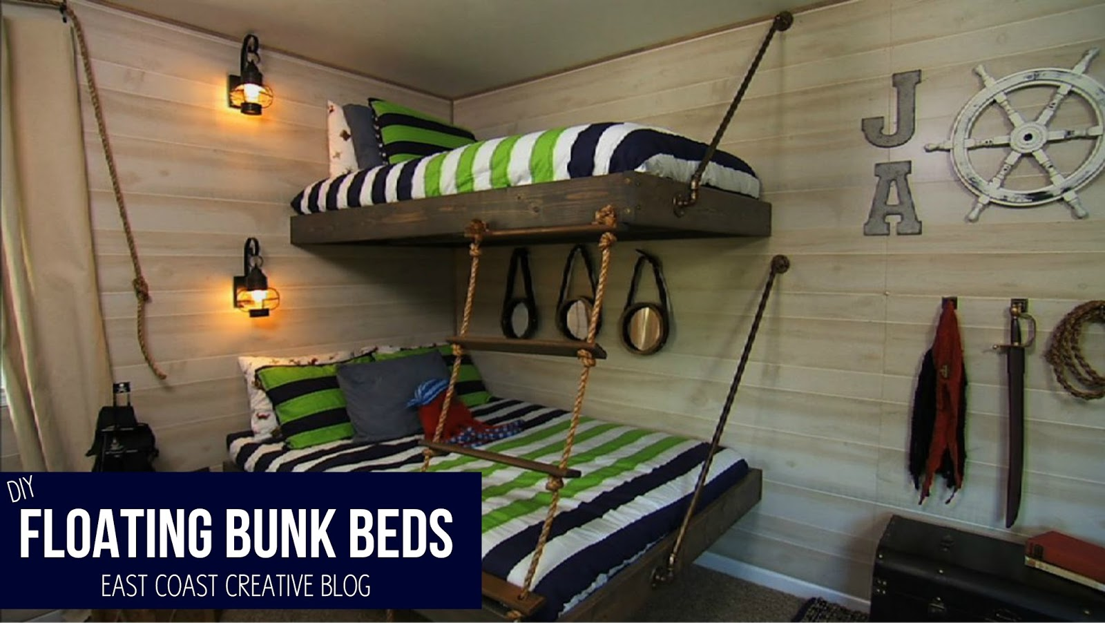 Build an easy floating bunk bed